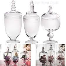 high quality clear glass apothecary jars wedding candy buffet containers set 3