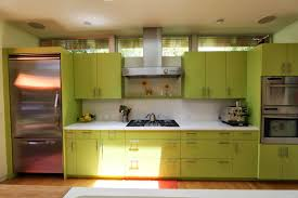 Kitchen:Beautiful Small Green Kitchen Design With Green Cabinet And Purple  Wall Color Modern Light