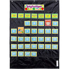 Black Classroom Calendar Pocket Chart Carson Dellosa Cd 158574 Deluxe Calendar Pocket Chart Black