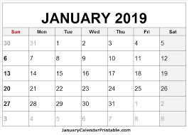 2019 Calendar Printable Template Free January 2019 Calendar Printable Template Holidays January