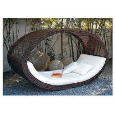 China Coffee Oval Style Outdoor Wicker Sunbeds Garden Furniture  Weatherproof for sale