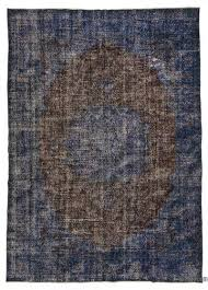 blue over dyed turkish vintage rug