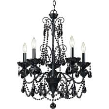 famous black glass chandeliers throughout af lighting mischief 5 light black metal chandelier with black glass