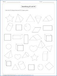 Geometry Worksheets Solid Shapes First Grade And Flat Kindergarten For