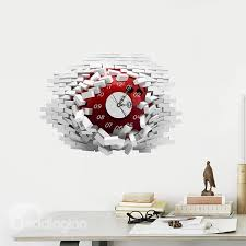 54 amazing brick wall hole 3d sticker wall clock