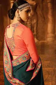 Green Saree With Pink Blouse Design Dark Green Saree With Pink Blouse