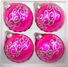 4 Tlg Glas Weihnachtskugeln Set 10cm ø In Hochglanz Pink Silberne Ornamente