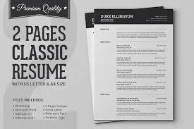2 Page Resume Template Unique Two Pages Classic Resume CV Template Resume Templates Creative