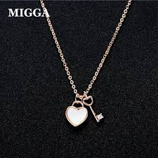 migga exquisite rose gold color small zircon key heart lock pendant necklace for women girls gift jewelry choker chain uk 2019 from clintcapela