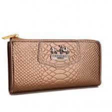 Coach Madison Continental Zip In Croc Embossed Large Bronze Wallets Outlet  Free Shipping