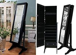 mirror stand. black mirrored jewelry cabinet armoire stand, mirror, necklaces, bracelets, rings mirror stand n