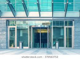 office entrance doors. Entrance Of The Modern Business City Office Building. Doors