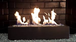 golden blount alpine linear gas fireplace burner with blue alpine flame fire glass burning demo you