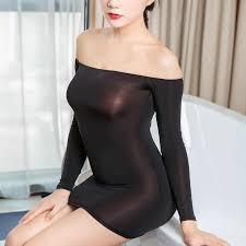 Sexy Women Tight Pencil Cute Dress Ice Silk Smooth See Through ...
