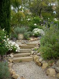 hillside crushed gravel patio pathways pea gravel path to a secret garden with