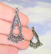 4 chandelier earring charms findings connector parts components 2 pair antique silver pewter usa made jewelry supplies dangle 38382s