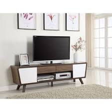white and brown tv stand. Benzara Glittering TwoTone MidCentury Modern TV Stand White And Brown On Tv