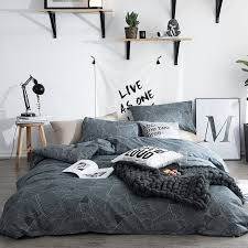 gray and white abstract leaf pattern shabby chic hipster personalized twin full queen size bedding sets for teens