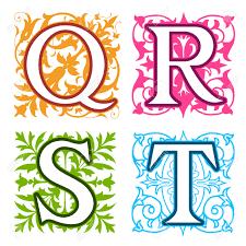 Decorative Letters Decorative Q R S T Alphabet Letters With Vintage Floral