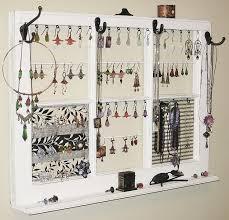 Wall Jewelry Organizer Jewelry Frame Upcycled Decor Window Frame Wall Hanging Jewelry