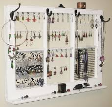 Hanging Necklace Organizer Jewelry Frame Upcycled Decor Window Frame Wall Hanging Jewelry