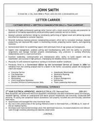 Letter Carrier Job Description Resume