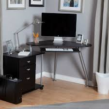 small black corner desk varnished wood computer decor modern white work station glass glossy top good looking 57