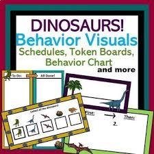 Dinosaur Autism Behavior Visuals Schedules Token Boards Behavior Chart More