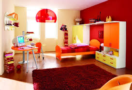 Orange Bedroom Furniture Kids Room Orange Bed Frame And Computer Desk Chair Set Also Two