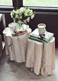 2) DIY Tree Stump Side Tables
