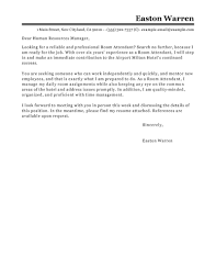 Efficient Professional Room Attendant Cover Letter Example For