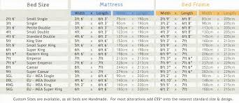 Mattress Size Chart European Wooden Bed Frame Sizes Chart Comparison Including Four