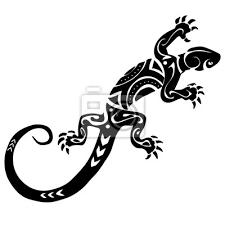 Plakát Ještěrka Tetování Polynésie Maori Vektor