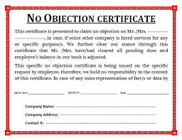 letter of non objection format of non objection certificate no objection letter for