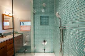 image of sea glass tile shower