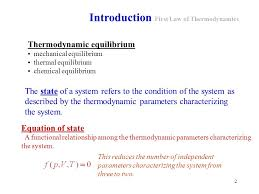 2 introduction first law of thermodynamics thermodynamic equilibrium mechanical equilibrium thermal equilibrium chemical equilibrium the state
