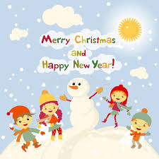 happy new years postcard shiny vector christmas background with funny snowman and children