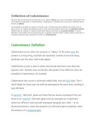 In codominance, however, neither allele is recessive and the phenotypes of both alleles are expressed. Definition Of Codominance Docx Dominance Genetics Allele