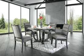 furniture of rt 5 rustic antique gray finish wood round dining table set