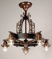 sold antique spanish revival semi flush five light chandelier bronze iron