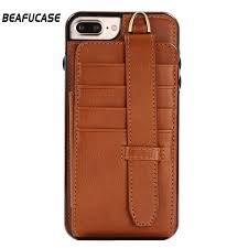 luxury leather back case for iphone 8 plus 8plus case wallet card slots phone case for apple iphone 7 plus cover stand lanyard in wallet cases from