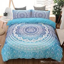 bohemian bedding sets mandala printing blue black white boho single double queen king size duvet cover set no filling no sheet blue duvet twin size bedding