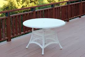 jeco w00206d b white wicker 44 round dining table