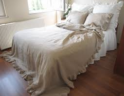 shabby and elegant ruffle bedding naturaltaupe camel brownish linen bed coverlet queen duvet cover with 2 pillow cases on wanelo