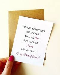 funny be my bridesmaid proposal card