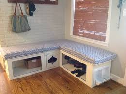 Built In Bench Mud Room Bench Storage With Built In Dog Bowls And Crate