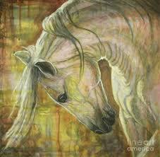 white horses painting reflection by silvana gabudean dobre