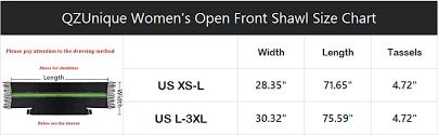 Shawl Size Chart Qzunique Womens Soft Cape Shawl Cardigan Wrap Poncho Lines With Fringe Trims