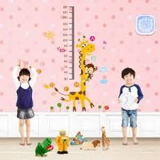 Jungle Zoo Animal Wall Sticker Monkey Climbing On Giraffe Growth Chart Nursery Wall Decal