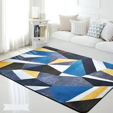 blue rug gray couch yellow black geometric rectangle carpet bedroom living room kids baby mat